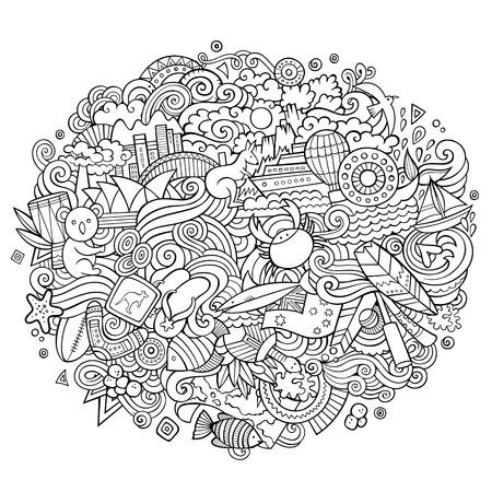 Australia doodles elements and symbols background Vector contour hand drawn illustration Stock Vector - 93083890
