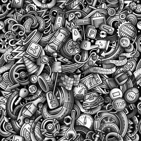 漫画かわいい落書き自動車シームレスなパターン。モノクロは、オブジェクトの背景の多くで、詳細。すべてのオブジェクトが分離されます。車の部品のシンボルとアイテムを含む背景 写真素材 - 93084212