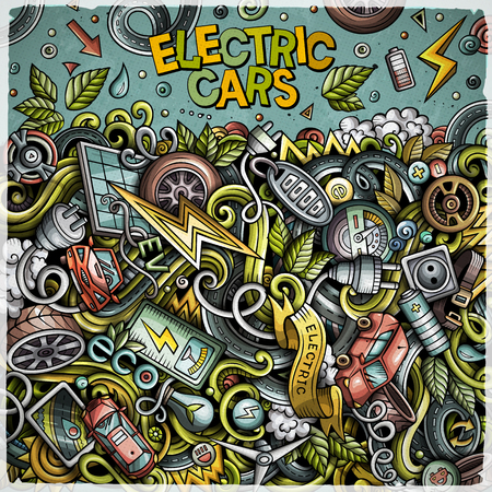 Cartoon cute doodles Electric vehicle frame card. Colorful detailed, with lots of objects background. All objects separate. Border with eco cars symbols and items