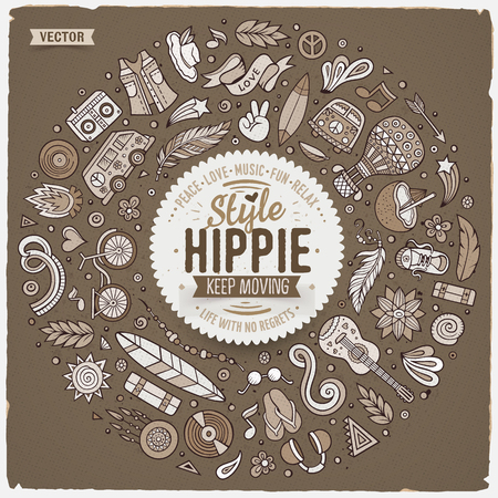 Monochrome vector hand drawn set of Hippie cartoon doodle objects, symbols and items. Round frame composition. Illustration