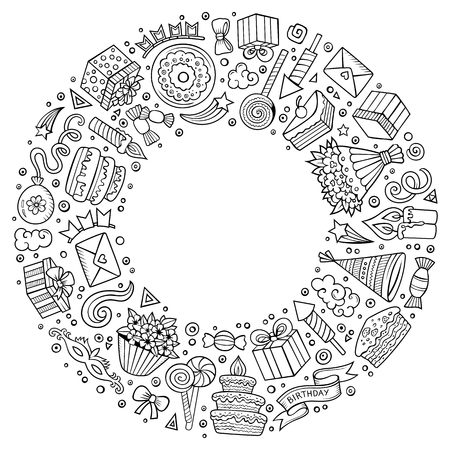 Line art vector hand drawn set of holidays cartoon doodle objects, symbols and items. Round frame composition.