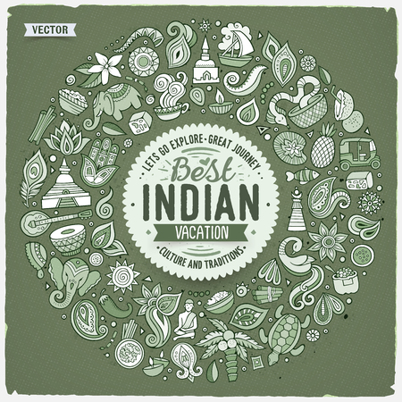 Vector hand drawn set of Indian cartoon doodle objects, symbols and items. Round frame composition
