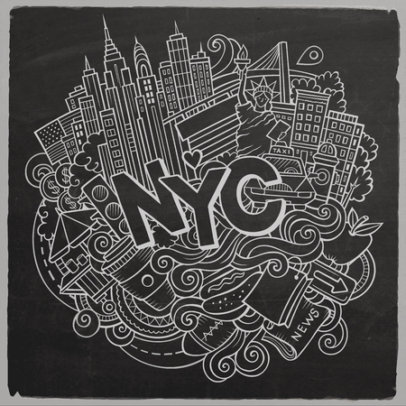 Cartoon cute doodles hand drawn New York inscription. Chalkboard illustration with american theme items. Line art detailed, with lots of objects background. Funny vector artwork Illustration