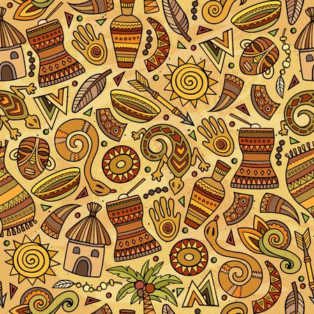 Cartoon cute hand drawn African seamless pattern illustration.