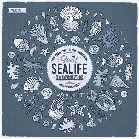 Vector hand drawn set of Sealife cartoon doodle objects, symbols and items. Round frame composition