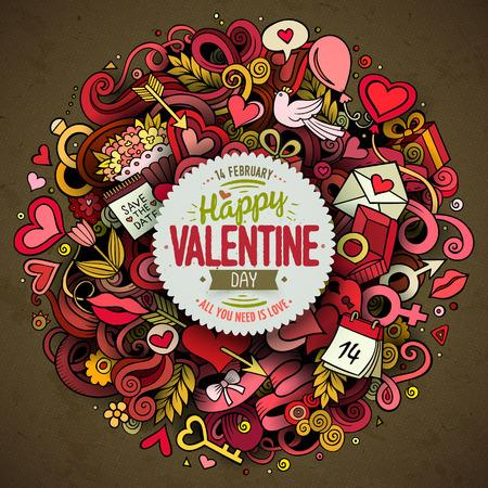 漫画ベクトル手描き落書きハッピーバレンタインデーイラスト。オブジェクトとシンボルを持つカラフルな詳細なデザインの背景。すべてのオブジ