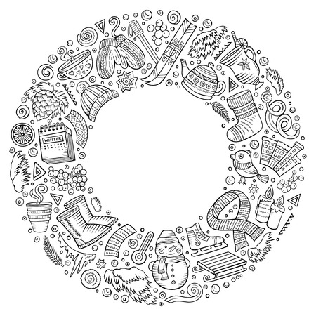 Line art vector hand drawn set of Winter cartoon doodle objects, symbols and items. Round frame composition