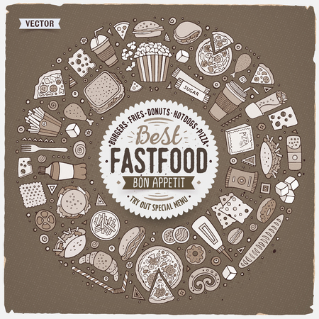 Monochrome vector hand drawn set of Fast food cartoon doodle objects, symbols and items. Round frame composition Vectores