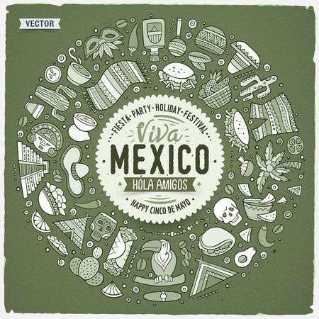 Vector hand drawn set of Latin American cartoon doodle objects, symbols and items. Round frame composition