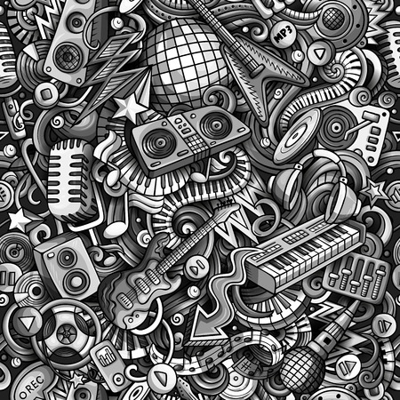 Cartoon cute doodles Disco music seamless pattern. Monochrome detailed, with lots of objects background. All elements separate. Backdrop with musical objects