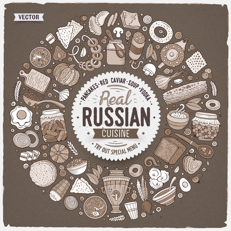 Vector hand drawn set of Russian food cartoon doodle objects, symbols and items. Round frame composition