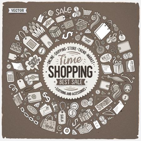Gezeichneter Satz des Vektors Hand Einkaufskarikaturgekritzelgegenstände, -symbole und -einzelteile. Runder Rahmenaufbau