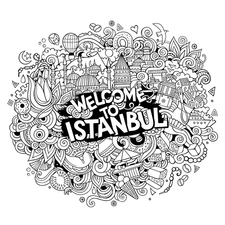 Cartoon cute doodles hand drawn Welcome to Istanbul inscription Illustration