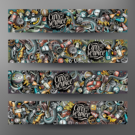 Cartoon cute colorful vector hand drawn doodles automotive banners