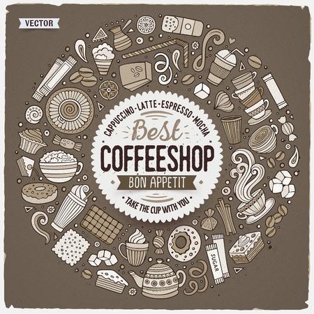 Zwart-wit hand getrokken set van doodle doodle koffie cartoon pictogrammen in een rond frame.