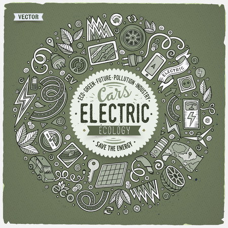 Monochrome vector hand drawn set of Electric cars cartoon doodle objects, symbols and items. Round frame composition Ilustração