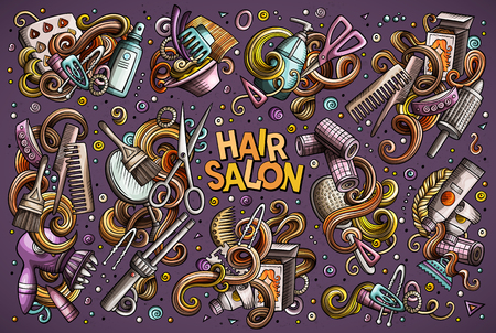 Vector hand drawn doodle cartoon set of Hair salon theme items, objects and symbols. All objects separate.