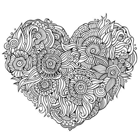 Abstrakte dekorative ethnische Gekritzelherzzusammensetzung mit Blumen. Vektorlinie Kunsthintergrund