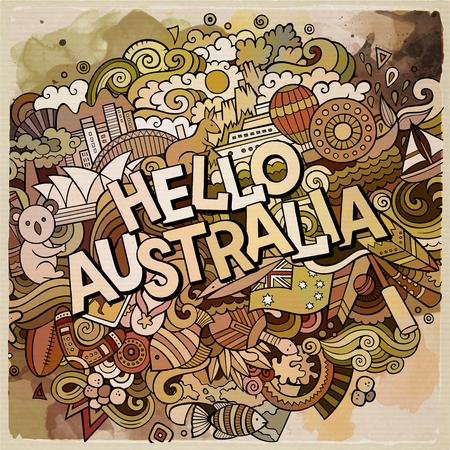 こんにちはオーストラリアの国の手のレタリングと落書き要素やシンボルの背景。ベクトル手描き水彩イラスト