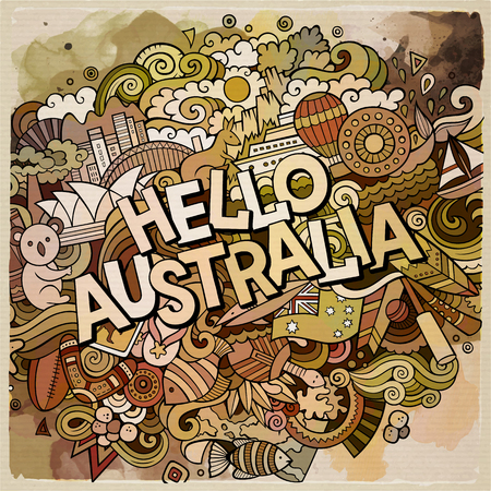 Hello Australia country hand lettering and doodles elements and symbols background. Vector hand drawn watercolor illustration Illustration