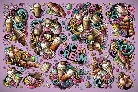 Colorful vector hand drawn doodle cartoon set of ice-cream objects and symbols