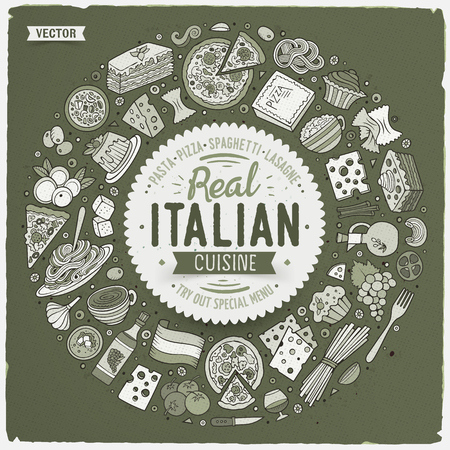 Vector hand drawn set of Italian food cartoon doodle objects, symbols and items. Round frame composition 向量圖像