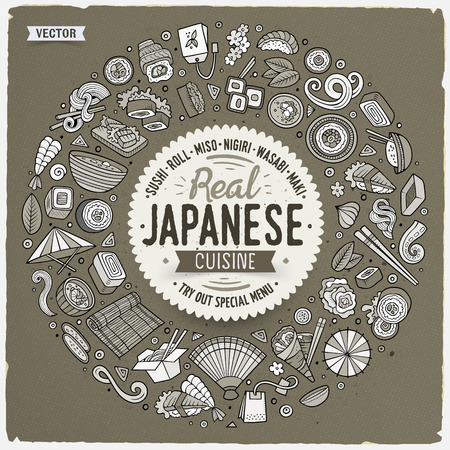 Vector hand drawn set of Japanese food cartoon doodle objects, symbols and items. Round frame composition