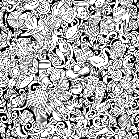 Cartoon cute doodles Latin America seamless pattern. Line art detailed, with lots of objects background. All objects separate. Backdrop with latinamerican symbols and items Illustration