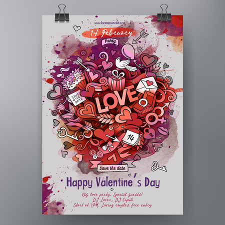 Watercolor vector hand drawn Doodle Happy Valentines Day poster design. All objects are separated.