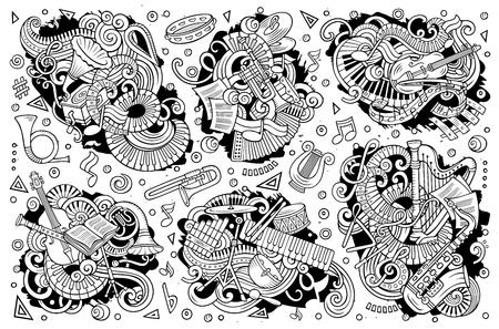 Lijn kunst vector hand getrokken doodles cartoon set klassieke muziekinstrumenten combinaties van objecten en elementen