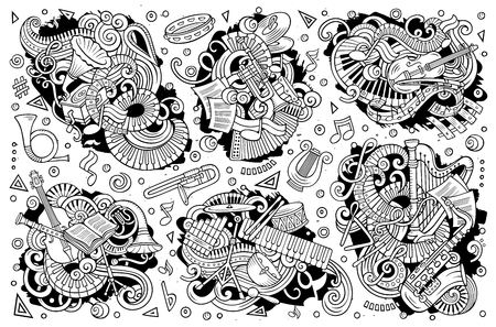 Linea arte vettoriale disegnati a mano scarabocchi cartoon set di combinazioni di strumenti musicali classici di oggetti ed elementi Archivio Fotografico - 93152983