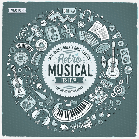 Set of Musical cartoon doodle objects, symbols and items