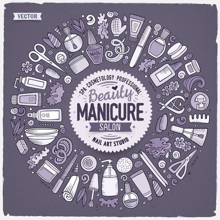 Vector hand drawn set of Manicure cartoon doodle objects, symbols and items. Round frame composition