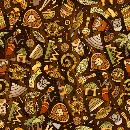 Cartoon cute hand drawn African seamless pattern. Colorful detailed, with lots of objects background. Endless funny  illustration. Bright colors backdrop.