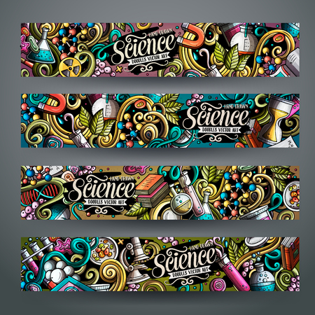 Cartoon cute colorful vector hand drawn doodles Science corporate identity. 4 horizontal banners design. Templates set