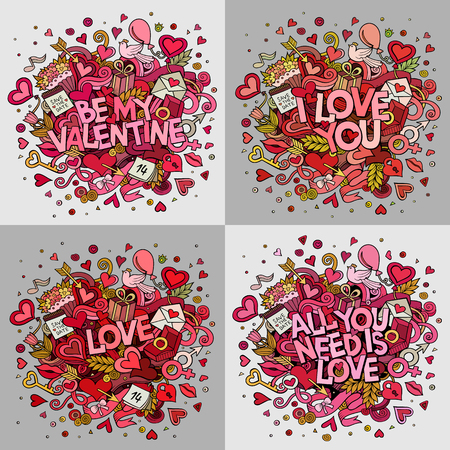 Set of vector hand drawn Doodle Happy Valentines Day illustrations Illustration