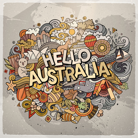 Cartoon cute doodles hand drawn Hello Australia inscription. Colorful illustration. Line art detailed, with lots of objects background. Funny vector artwork