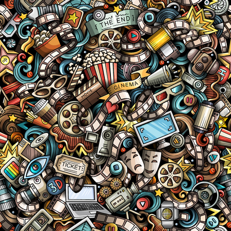 Cartoon cute doodles Cinema seamless pattern. Colorful illustration with lots of objects. All items separated. Background with movie symbols and elements Ilustração