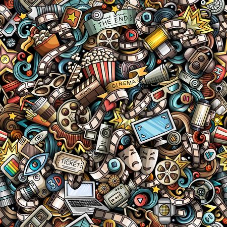 Cartoon schattig doodles Cinema naadloos patroon. Kleurrijke illustratie met veel objecten. Alle items gescheiden. Achtergrond met filmsymbolen en elementen Stock Illustratie
