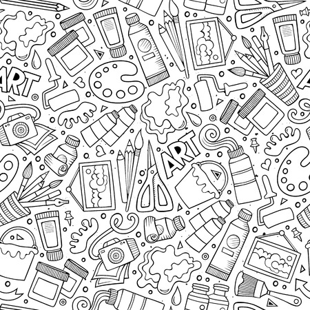 Cartoon cute hand drawn Design and Art seamless pattern. Illustration with lots of elements. Endless funny vector background