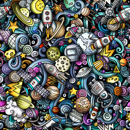 Cartoon cute doodles Space seamless pattern. Colorful detailed, with lots of objects background. All objects separate. Backdrop with cosmic symbols and items Stock Illustratie