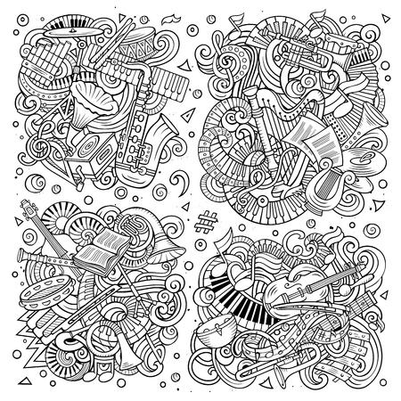オブジェクトと要素の組み合わせの古典的な楽器のラインアートベクトル手描き落書き漫画セット  イラスト・ベクター素材