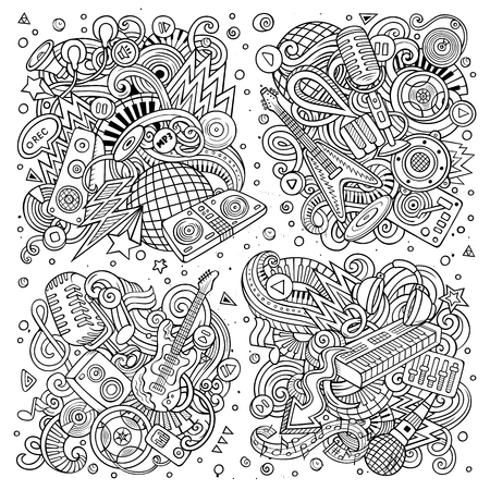 Line art vector hand drawn doodles cartoon set of disco music combinations of objects and elements Stock Illustratie