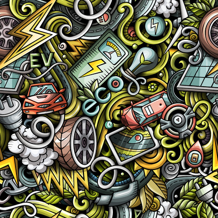 Cartoon cute doodles Electric vehicle seamless pattern. Colorful detailed, with lots of objects background.