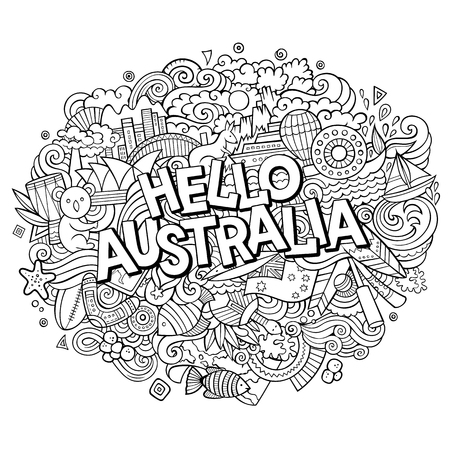 Cartoon cute doodles hand drawn Hello Australia inscription. Contour illustration. Line art detailed, with lots of objects background.