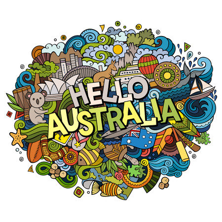 Cartoon cute doodles hand drawn Hello Australia inscription. Colorful illustration. Line art detailed, with lots of objects background. Funny vector artwork.