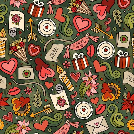 Cartoon schattig hand getekend Valentijnsdag naadloze patroon. Illustratie met veel elementen. Eindeloze grappige vector achtergrond Stock Illustratie
