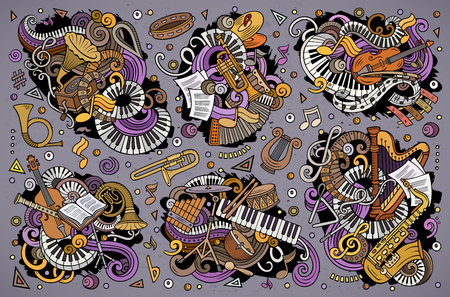 Colorful vector hand drawn doodles cartoon set of classical musical instruments combinations of objects and elements Ilustração