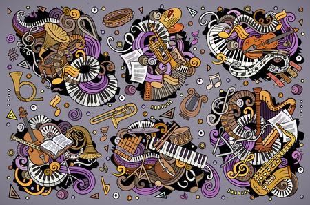 Die bunte gezeichnete Vektorhand kritzelt Karikatursatz klassische Musikinstrumentkombinationen von Gegenständen und von Elementen Standard-Bild - 93463347