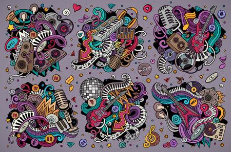 다채로운 벡터 낙서 디스코 음악 개체 조합의 만화 세트